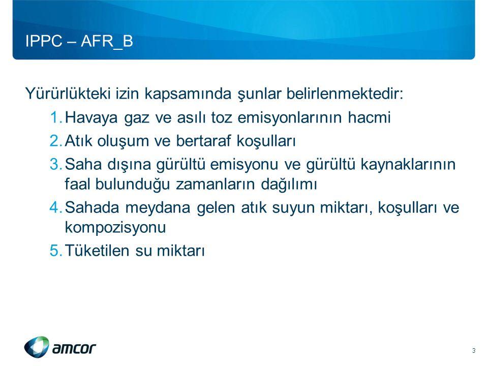 IPPC – AFR_B Yürürlükteki izin kapsamında şunlar belirlenmektedir: 1.Havaya gaz ve asılı toz emisyonlarının hacmi 2.Atık oluşum ve bertaraf koşulları