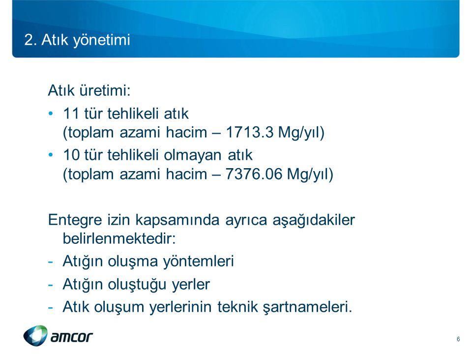 2. Atık yönetimi Atık üretimi: •11 tür tehlikeli atık (toplam azami hacim – 1713.3 Mg/yıl) •10 tür tehlikeli olmayan atık (toplam azami hacim – 7376.0