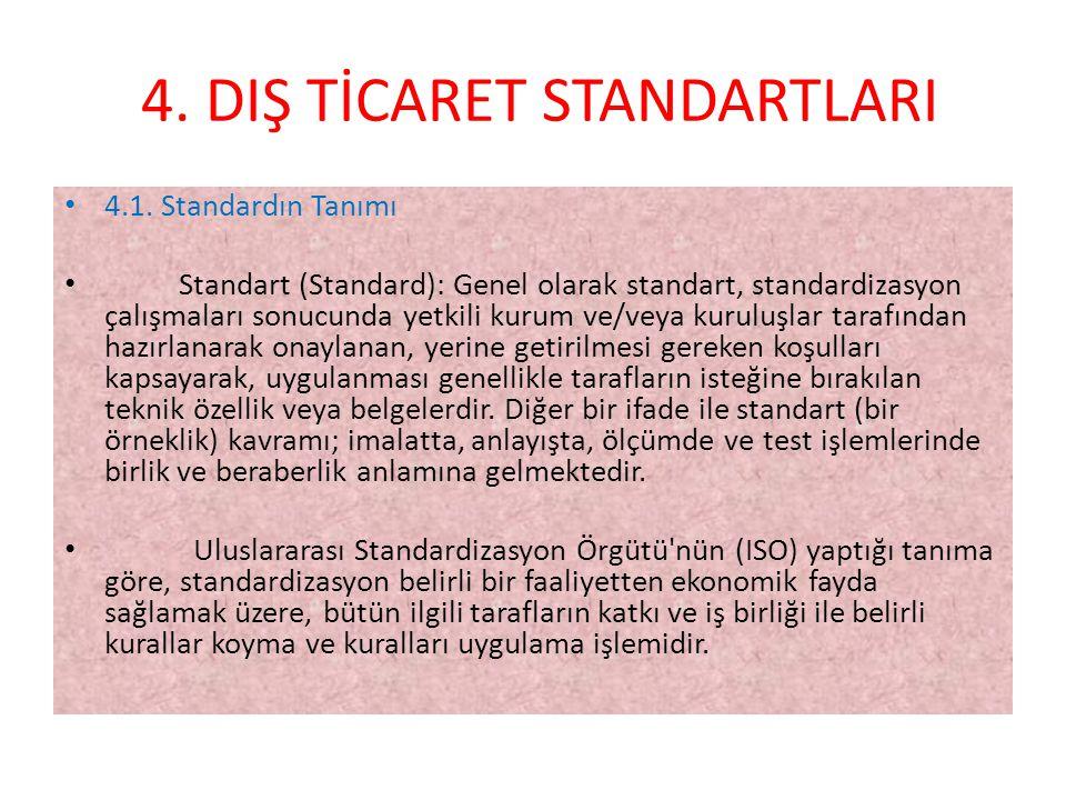 4.DIŞ TİCARET STANDARTLARI • 4.1.