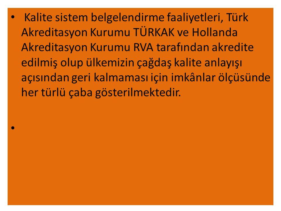 • Kalite sistem belgelendirme faaliyetleri, Türk Akreditasyon Kurumu TÜRKAK ve Hollanda Akreditasyon Kurumu RVA tarafından akredite edilmiş olup ülkemizin çağdaş kalite anlayışı açısından geri kalmaması için imkânlar ölçüsünde her türlü çaba gösterilmektedir.
