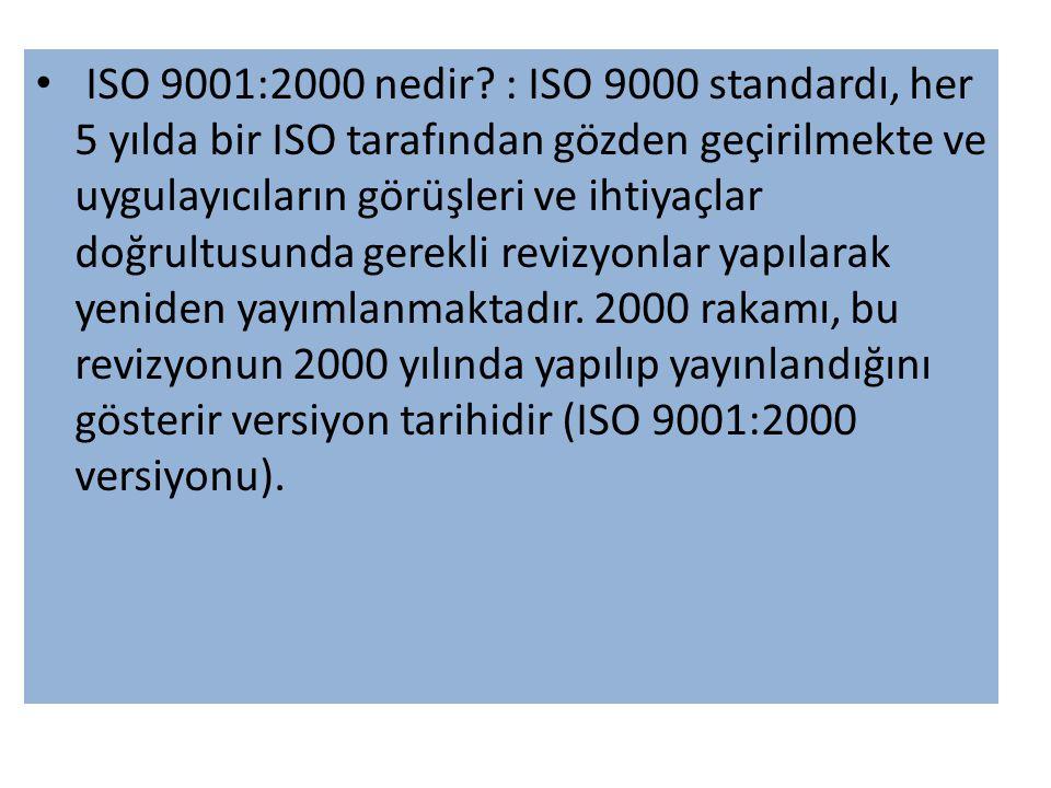 • ISO 9001:2000 nedir.