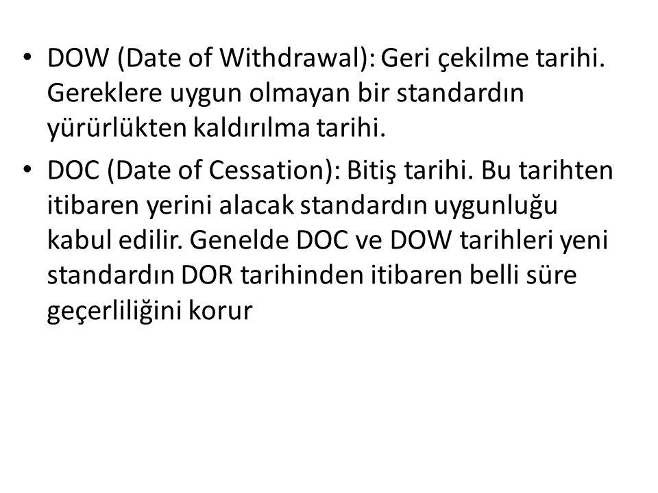 • DOW (Date of Withdrawal): Geri çekilme tarihi.
