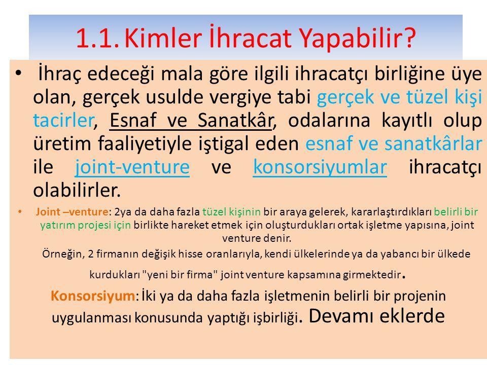 2.2.2.11.Bavul Ticareti ya da Yolcu Beraberi Satış Şeklinde İhracat Turistlere, yabancı ülkelerde ikamet eden Türk uyruklu gerçek ya da tüzel kişilere vb.