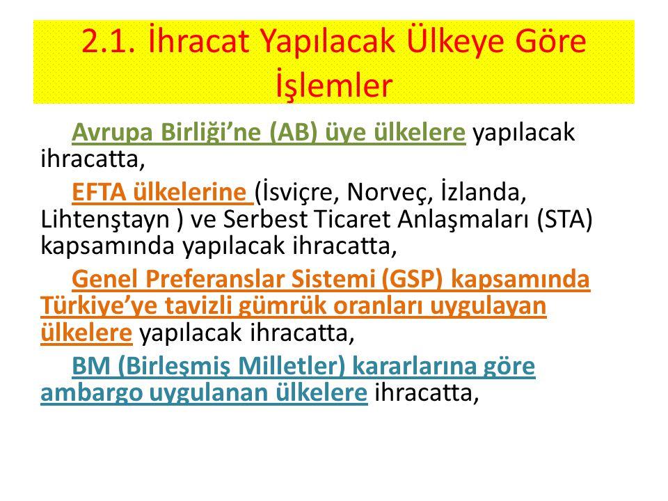 2.1.İhracat Yapılacak Ülkeye Göre İşlemler Avrupa Birliği'ne (AB) üye ülkelere yapılacak ihracatta, EFTA ülkelerine (İsviçre, Norveç, İzlanda, Lihtenştayn ) ve Serbest Ticaret Anlaşmaları (STA) kapsamında yapılacak ihracatta, Genel Preferanslar Sistemi (GSP) kapsamında Türkiye'ye tavizli gümrük oranları uygulayan ülkelere yapılacak ihracatta, BM (Birleşmiş Milletler) kararlarına göre ambargo uygulanan ülkelere ihracatta,