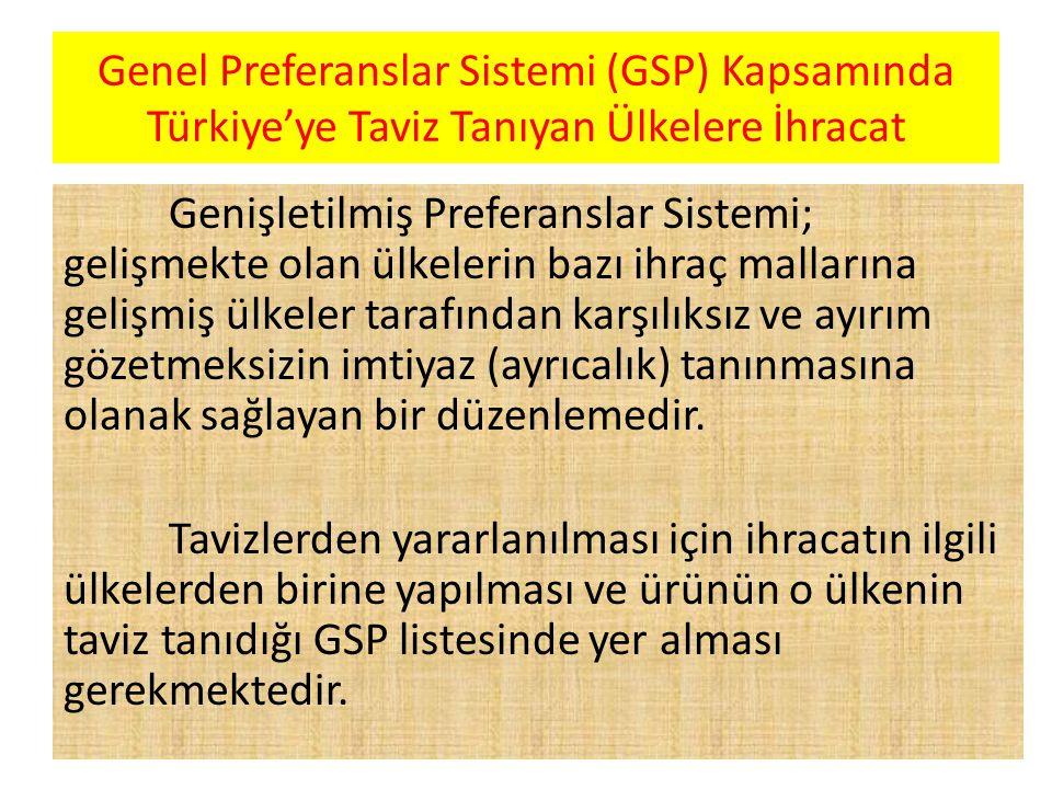 Genel Preferanslar Sistemi (GSP) Kapsamında Türkiye'ye Taviz Tanıyan Ülkelere İhracat Genişletilmiş Preferanslar Sistemi; gelişmekte olan ülkelerin bazı ihraç mallarına gelişmiş ülkeler tarafından karşılıksız ve ayırım gözetmeksizin imtiyaz (ayrıcalık) tanınmasına olanak sağlayan bir düzenlemedir.