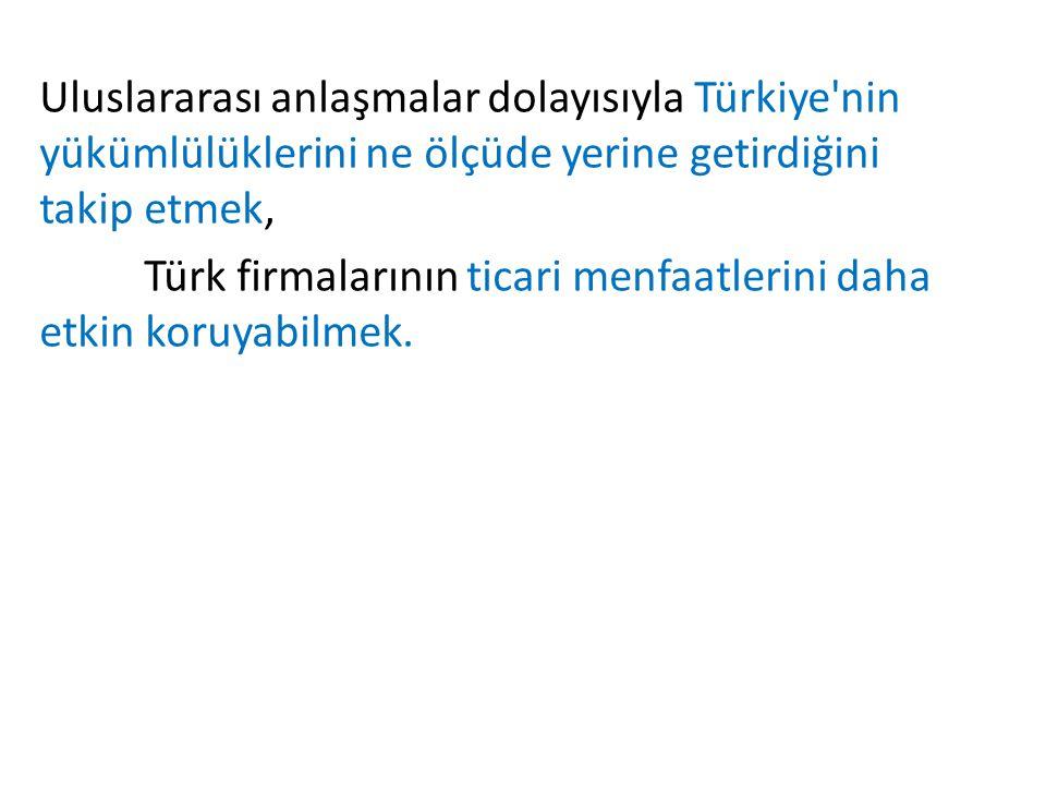 Uluslararası anlaşmalar dolayısıyla Türkiye nin yükümlülüklerini ne ölçüde yerine getirdiğini takip etmek, Türk firmalarının ticari menfaatlerini daha etkin koruyabilmek.