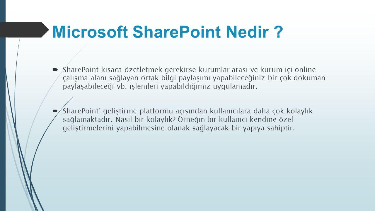 Microsoft SharePoint Nedir ?  SharePoint kısaca özetletmek gerekirse kurumlar arası ve kurum içi online çalışma alanı sağlayan ortak bilgi paylaşımı
