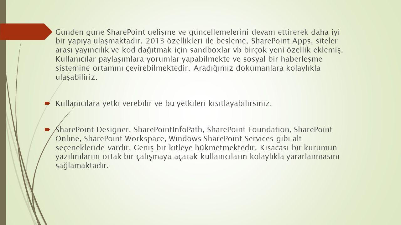  Günden güne SharePoint gelişme ve güncellemelerini devam ettirerek daha iyi bir yapıya ulaşmaktadır. 2013 özellikleri ile besleme, SharePoint Apps,