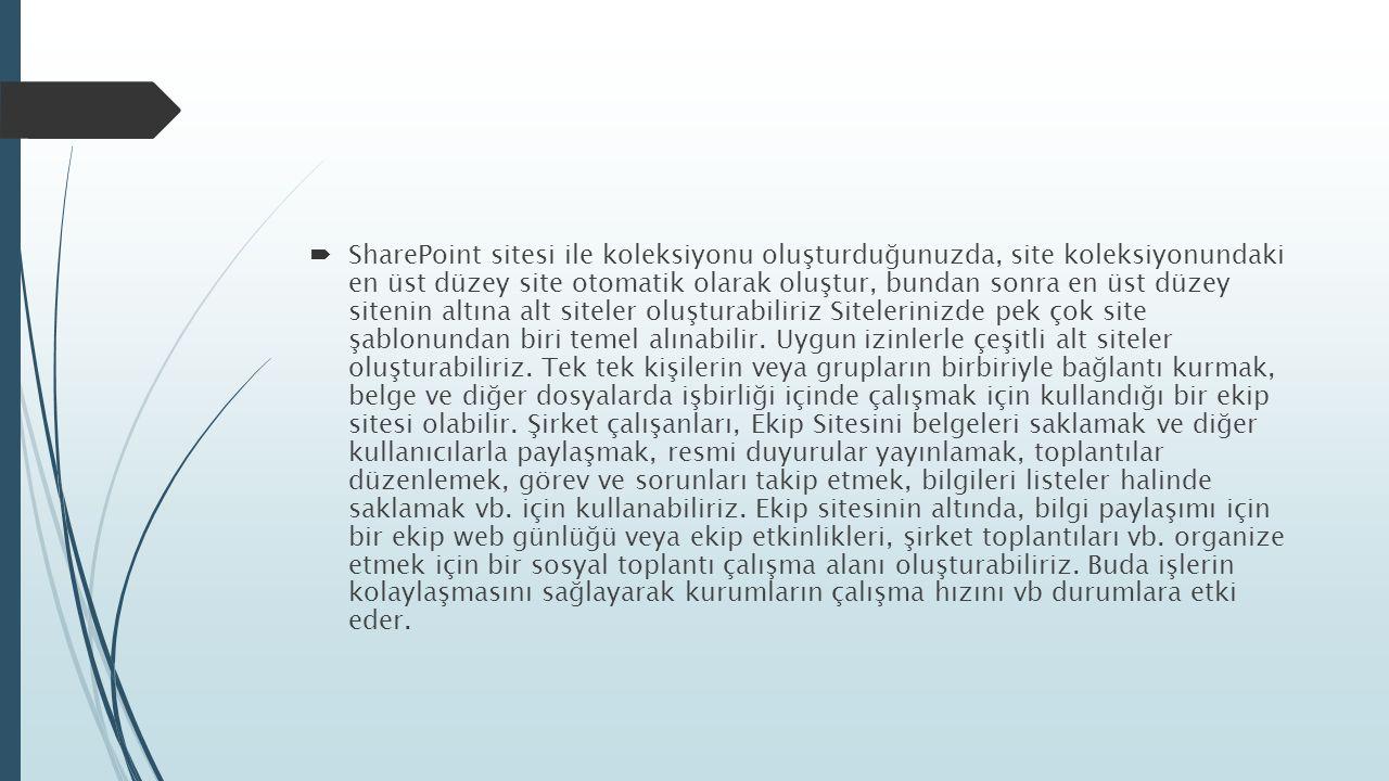 SharePoint Team Site  Team site SharePoint ekip, takım sitesi anlamına gelir.