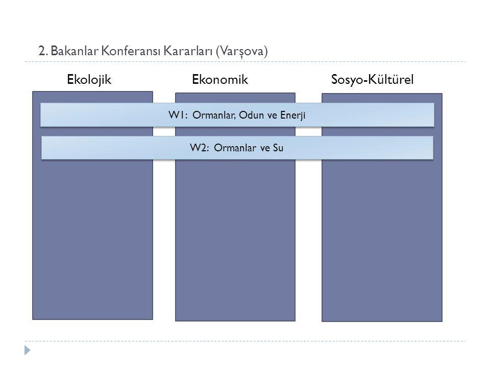 2. Bakanlar Konferansı Kararları (Varşova) Ekolojik Ekonomik Sosyo-Kültürel W1: Ormanlar, Odun ve Enerji W2: Ormanlar ve Su