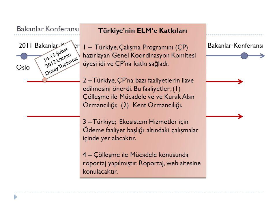 Bakanlar Konferansı Süreci 2011 Bakanlar Konferansı 2013 Bakanlar Konferansı Oslo Bakanlar Konferansı Faaliyetleri Avrupa Orman Anlaşması Müzakereleri 14-15 Şubat 2012 Uzman Düzey Toplantısı Türkiye'nin ELM'e Katkıları 1 – Türkiye, Çalışma Programını (ÇP) hazırlayan Genel Koordinasyon Komitesi üyesi idi ve ÇP'na katkı sa ğ ladı.