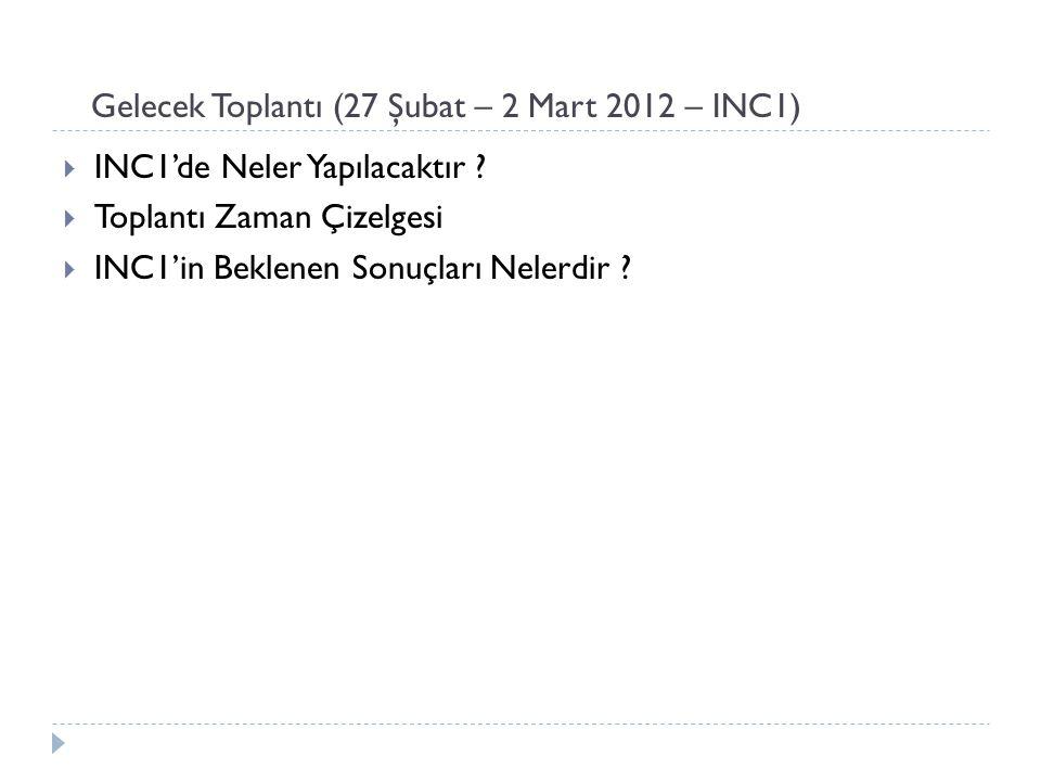 Gelecek Toplantı (27 Şubat – 2 Mart 2012 – INC1)  INC1'de Neler Yapılacaktır ?  Toplantı Zaman Çizelgesi  INC1'in Beklenen Sonuçları Nelerdir ?
