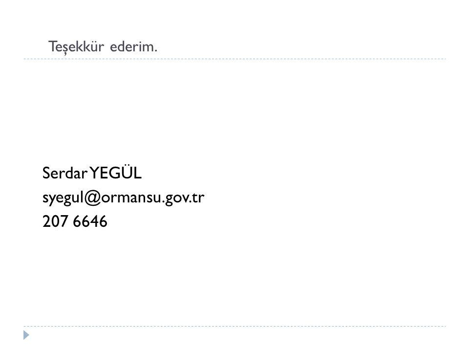 Teşekkür ederim. Serdar YEGÜL syegul@ormansu.gov.tr 207 6646