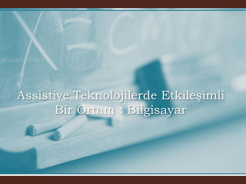 Kör Bireyler için Görsel Giriş Alternatifleri • •Windows ve Macintosh tabanlı bilgisayarlarda çalışabilen yazılım paketleri • •Sentetik Ses Çıktısı • •Aviator's Klavyesi • •Terminal Emülasyonu • •Application ve Review Modu • •CLI ve GUI, Görsel Metafor • •Microsoft Ekran Giriş Modeli • •OutSPOKEN, JAWS, Hal, Windows Bridge, Screen Reader/2 • •Navigator, ALVA, RBT 40, PowerBraille 40, PowerBraille 65, • •PowerBraille 80, SuperNova, VersaPoint, Mountbatten Brailler, • •The Basic-S