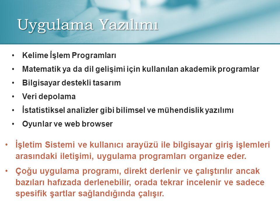 Uygulama Yazılımı • •Kelime İşlem Programları • •Matematik ya da dil gelişimi için kullanılan akademik programlar • •Bilgisayar destekli tasarım • •Veri depolama • •İstatistiksel analizler gibi bilimsel ve mühendislik yazılımı • •Oyunlar ve web browser •İşletim Sistemi ve kullanıcı arayüzü ile bilgisayar giriş işlemleri arasındaki iletişimi, uygulama programları organize eder.