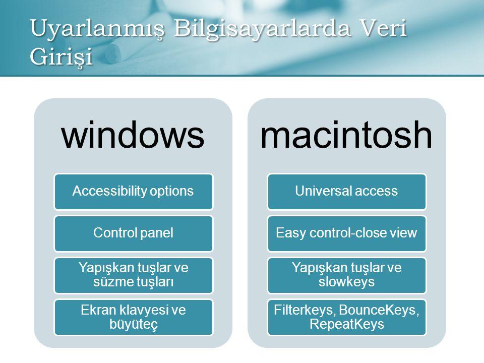 Uyarlanmış Bilgisayarlarda Veri Girişi windows Accessibility optionsControl panel Yapışkan tuşlar ve süzme tuşları Ekran klavyesi ve büyüteç macintosh Universal accessEasy control-close view Yapışkan tuşlar ve slowkeys Filterkeys, BounceKeys, RepeatKeys