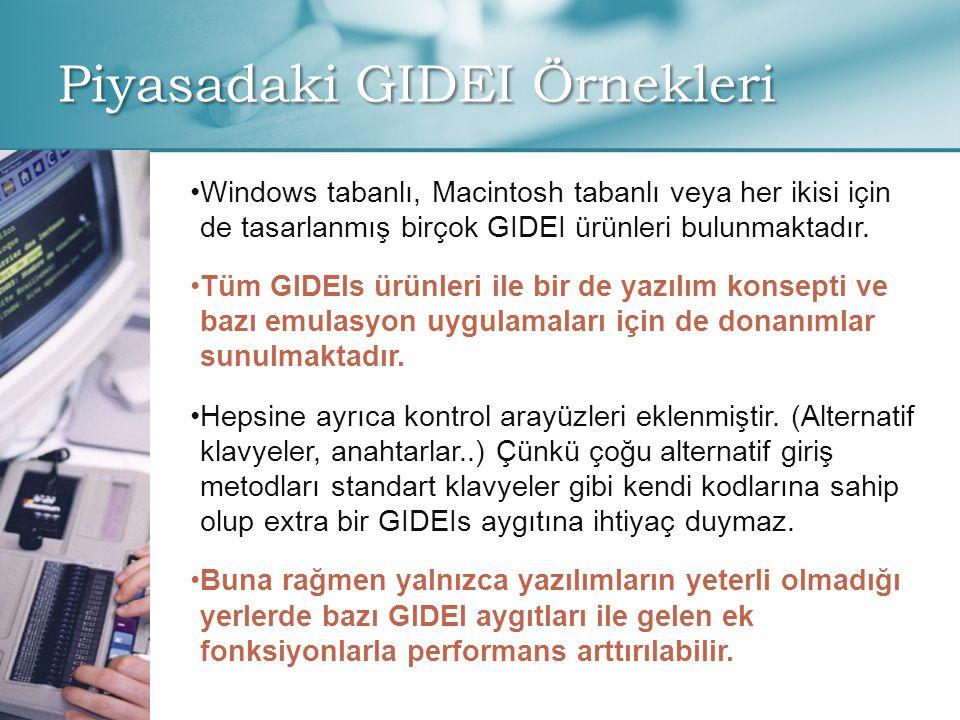 Piyasadaki GIDEI Örnekleri • •Windows tabanlı, Macintosh tabanlı veya her ikisi için de tasarlanmış birçok GIDEI ürünleri bulunmaktadır.