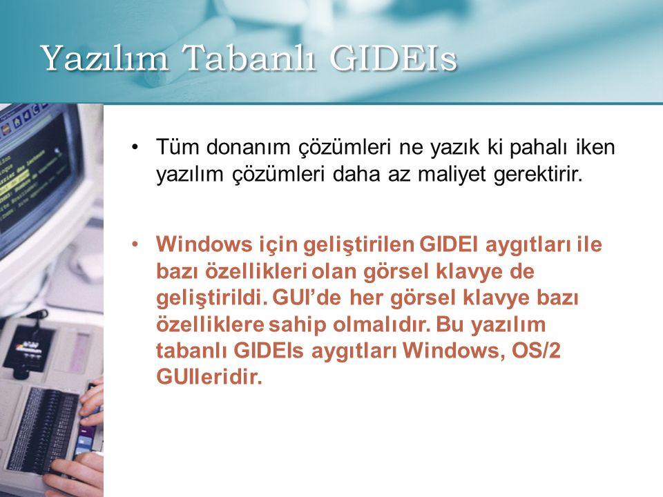 Yazılım Tabanlı GIDEIs • •Tüm donanım çözümleri ne yazık ki pahalı iken yazılım çözümleri daha az maliyet gerektirir. • •Windows için geliştirilen GID