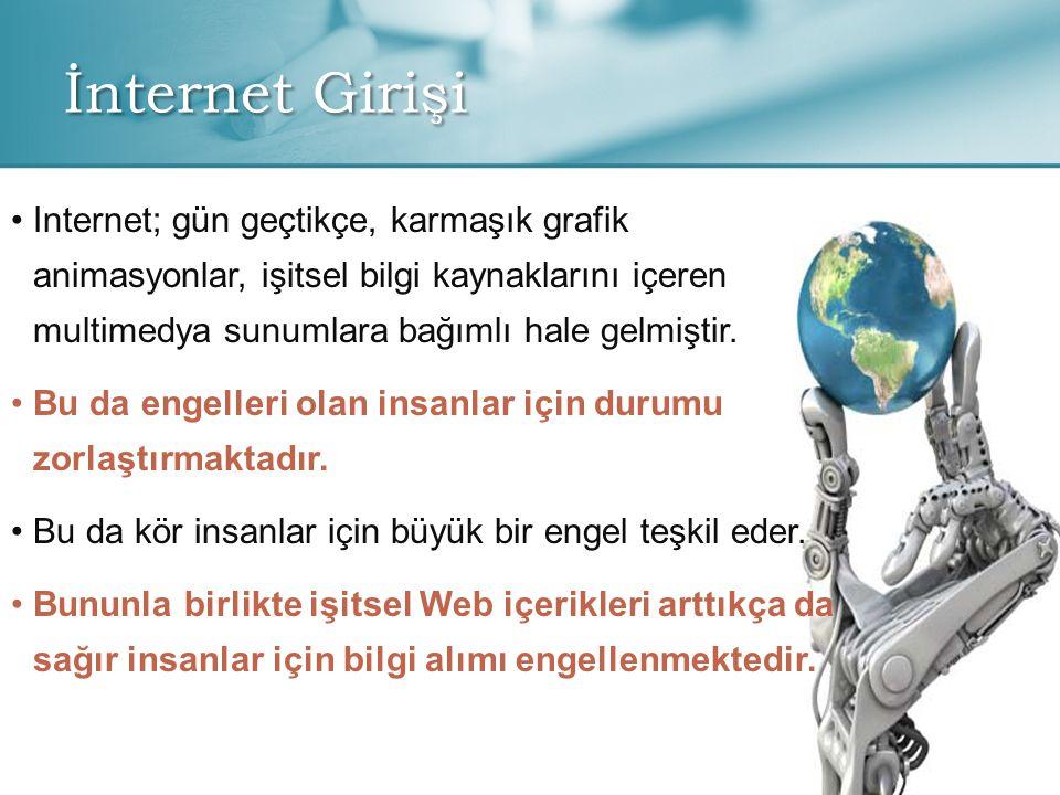 İnternet Girişi • •Internet; gün geçtikçe, karmaşık grafik animasyonlar, işitsel bilgi kaynaklarını içeren multimedya sunumlara bağımlı hale gelmiştir.