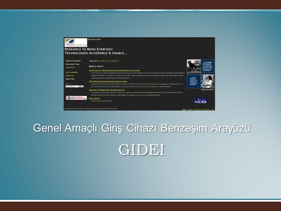 GIDEI • •Standart bilgisayar giriş cihazlarına alternatif olarak, farklı giriş aygıtları ve standart giriş aygıtlarına alternatif arayüzler tanımlar.