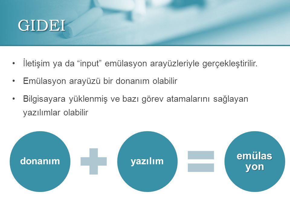 GIDEI donanımyazılım emülas yon •İ•İletişim ya da input emülasyon arayüzleriyle gerçekleştirilir.