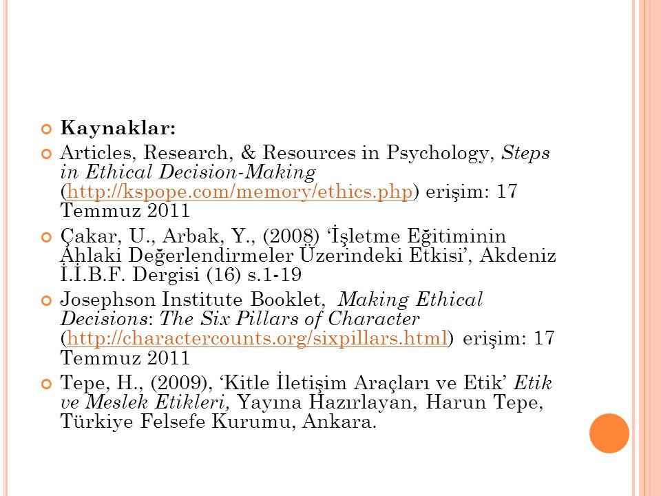 Kaynaklar: Articles, Research, & Resources in Psychology, Steps in Ethical Decision-Making (http://kspope.com/memory/ethics.php) erişim: 17 Temmuz 2011http://kspope.com/memory/ethics.php Çakar, U., Arbak, Y., (2008) 'İşletme Eğitiminin Ahlaki Değerlendirmeler Üzerindeki Etkisi', Akdeniz İ.İ.B.F.