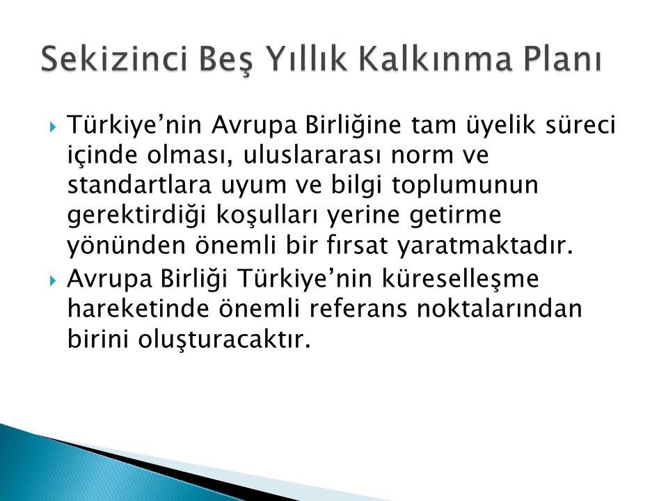  Türkiye'nin Avrupa Birliğine tam üyelik süreci içinde olması, uluslararası norm ve standartlara uyum ve bilgi toplumunun gerektirdiği koşulları yerine getirme yönünden önemli bir fırsat yaratmaktadır.