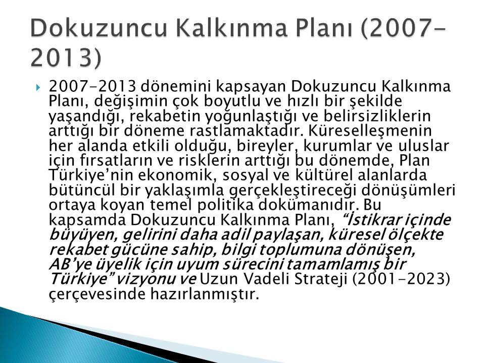  2007-2013 dönemini kapsayan Dokuzuncu Kalkınma Planı, değişimin çok boyutlu ve hızlı bir şekilde yaşandığı, rekabetin yoğunlaştığı ve belirsizliklerin arttığı bir döneme rastlamaktadır.