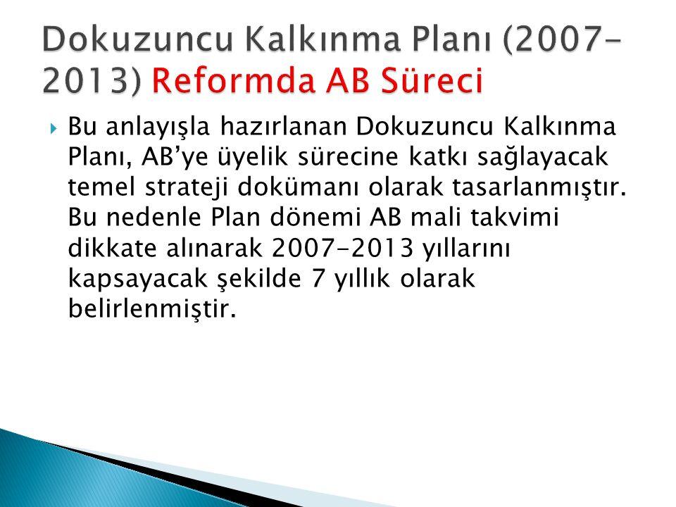  Bu anlayışla hazırlanan Dokuzuncu Kalkınma Planı, AB'ye üyelik sürecine katkı sağlayacak temel strateji dokümanı olarak tasarlanmıştır.