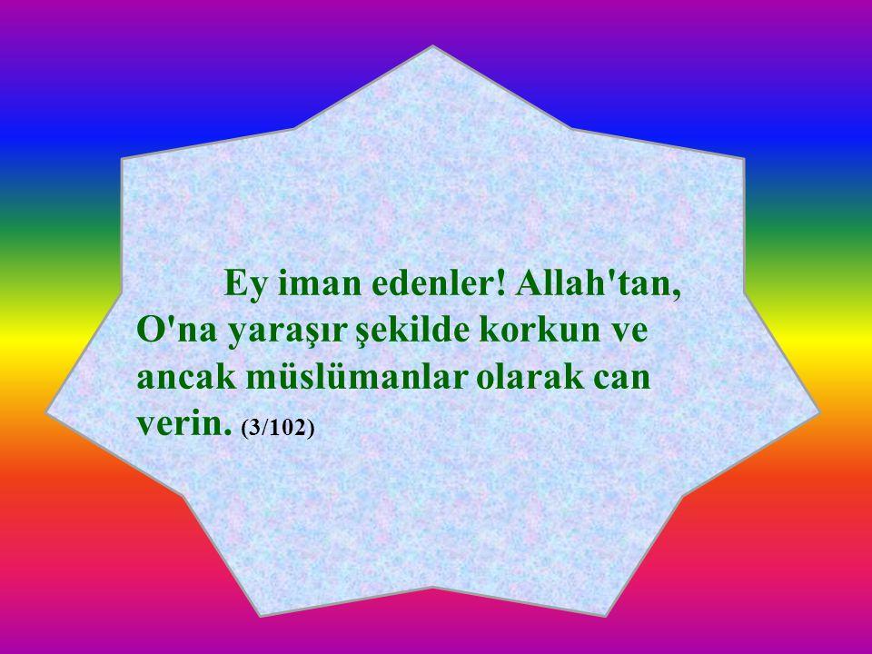 Ey iman edenler! Allah'tan, O'na yaraşır şekilde korkun ve ancak müslümanlar olarak can verin. (3/102)