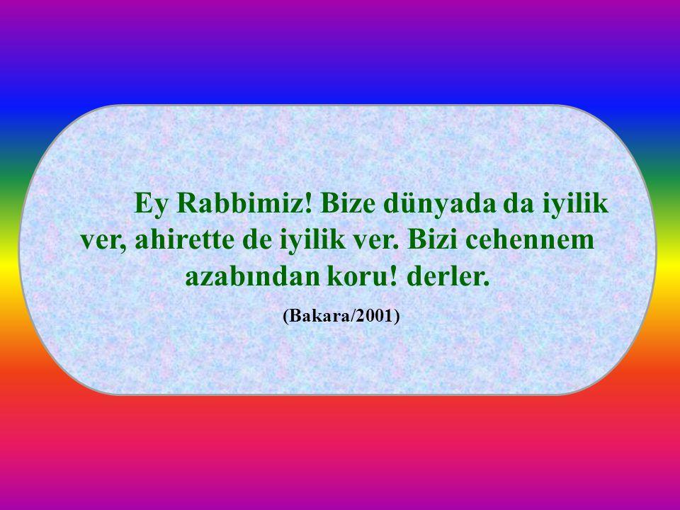 Ey Rabbimiz! Bize dünyada da iyilik ver, ahirette de iyilik ver. Bizi cehennem azabından koru! derler. (Bakara/2001)
