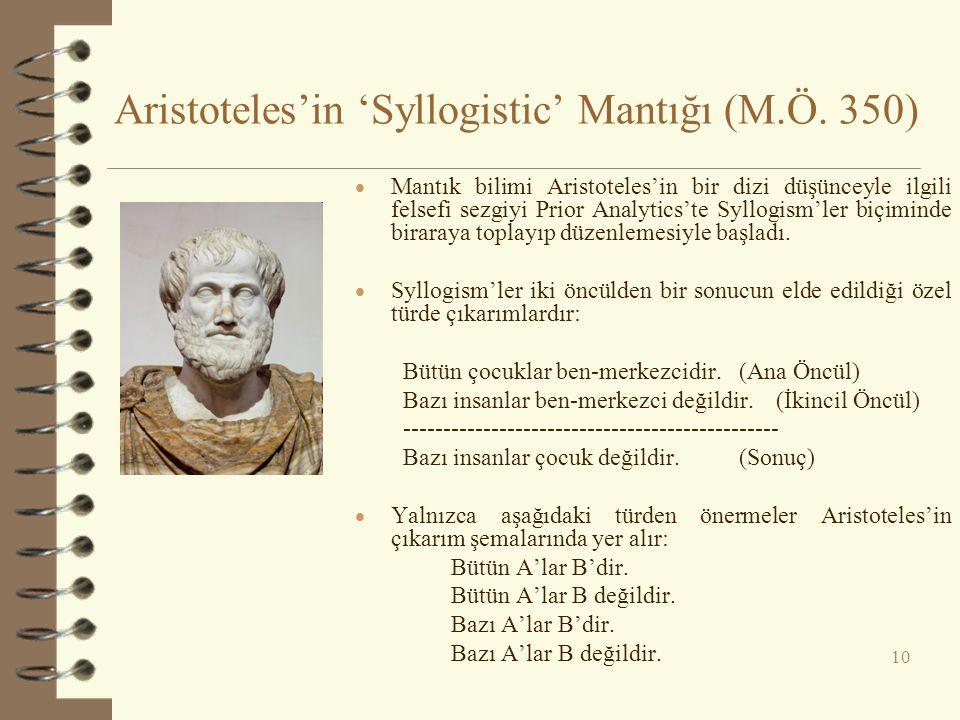 Aristoteles'in 'Syllogistic' Mantığı (M.Ö. 350) 10  Mantık bilimi Aristoteles'in bir dizi düşünceyle ilgili felsefi sezgiyi Prior Analytics'te Syllog
