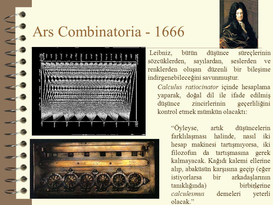 Ars Combinatoria - 1666 16 Calculus ratiocinator içinde hesaplama yaparak, doğal dil ile ifade edilmiş düşünce zincirlerinin geçerliliğini kontrol etm