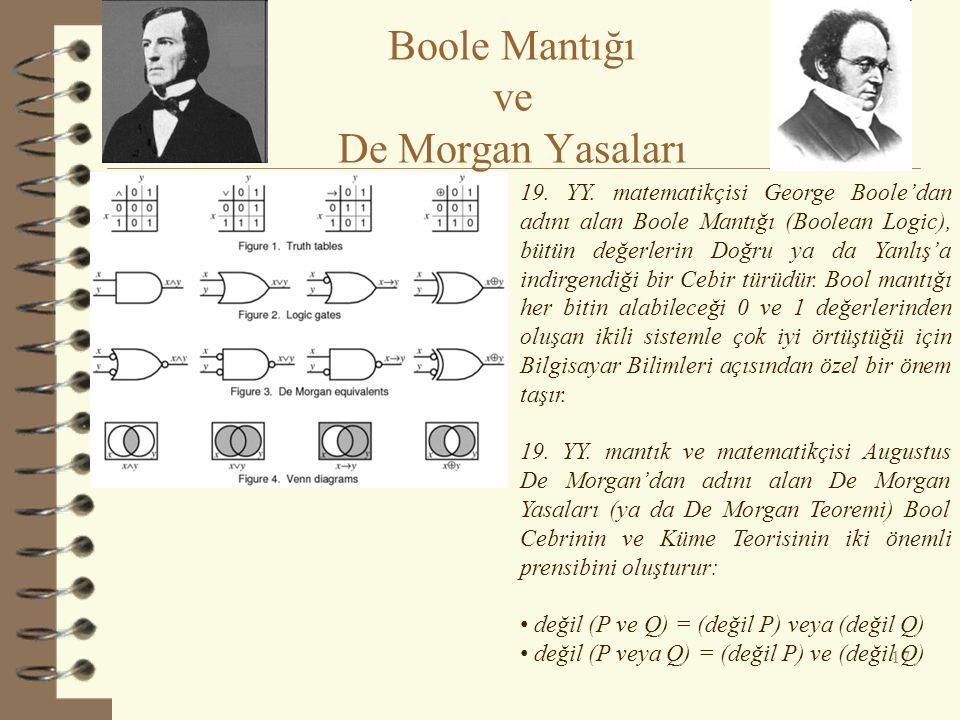 17 Boole Mantığı ve De Morgan Yasaları 19. YY. matematikçisi George Boole'dan adını alan Boole Mantığı (Boolean Logic), bütün değerlerin Doğru ya da Y