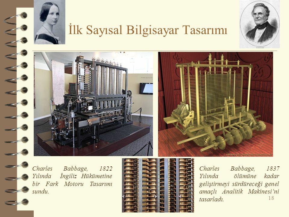İlk Sayısal Bilgisayar Tasarımı 18 Charles Babbage, 1822 Yılında İngiliz Hükümetine bir Fark Motoru Tasarımı sundu. Charles Babbage, 1837 Yılında ölüm