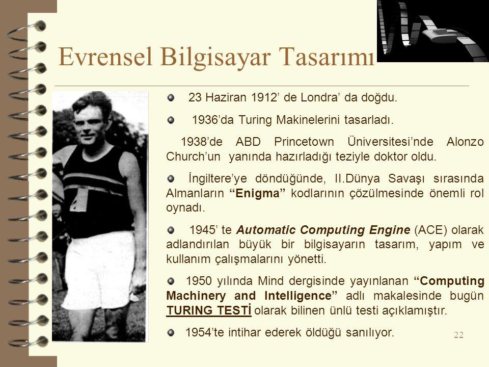 Evrensel Bilgisayar Tasarımı 22 23 Haziran 1912' de Londra' da doğdu. 1936'da Turing Makinelerini tasarladı. 1938'de ABD Princetown Üniversitesi'nde A