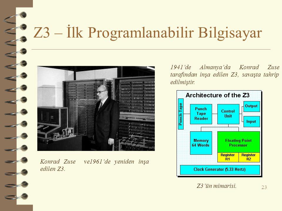 Z3 – İlk Programlanabilir Bilgisayar 23 Konrad Zuse ve1961'de yeniden inşa edilen Z3. 1941'de Almanya'da Konrad Zuse tarafından inşa edilen Z3, savaşt