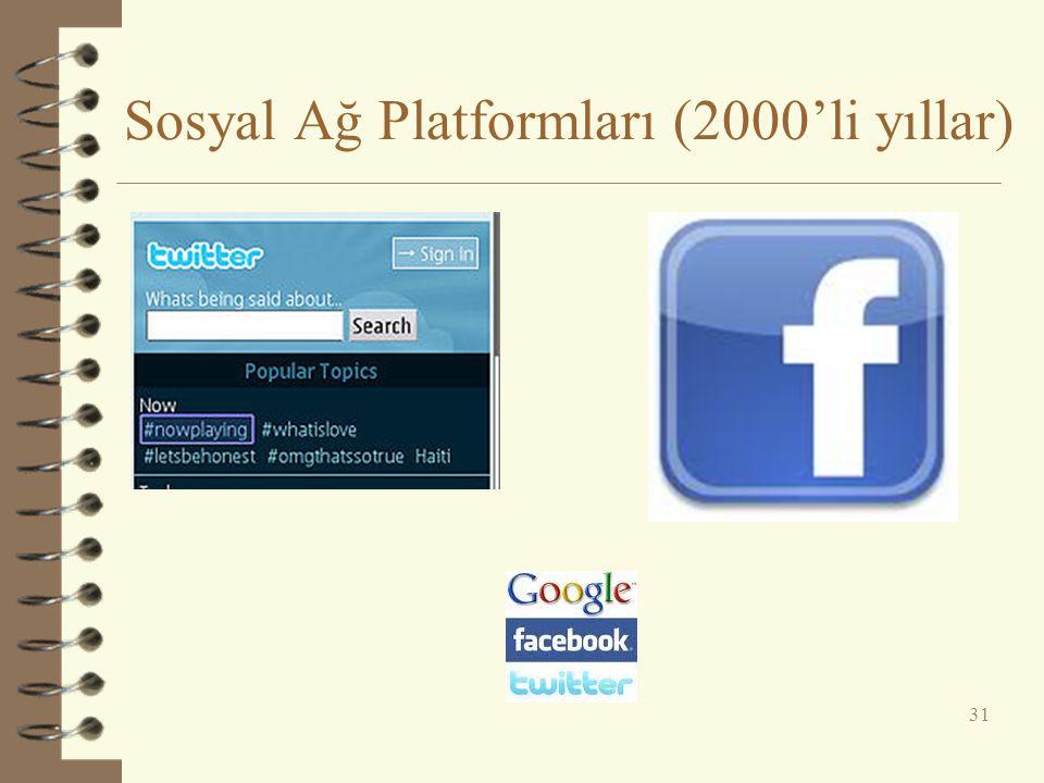 Sosyal Ağ Platformları (2000'li yıllar) 31