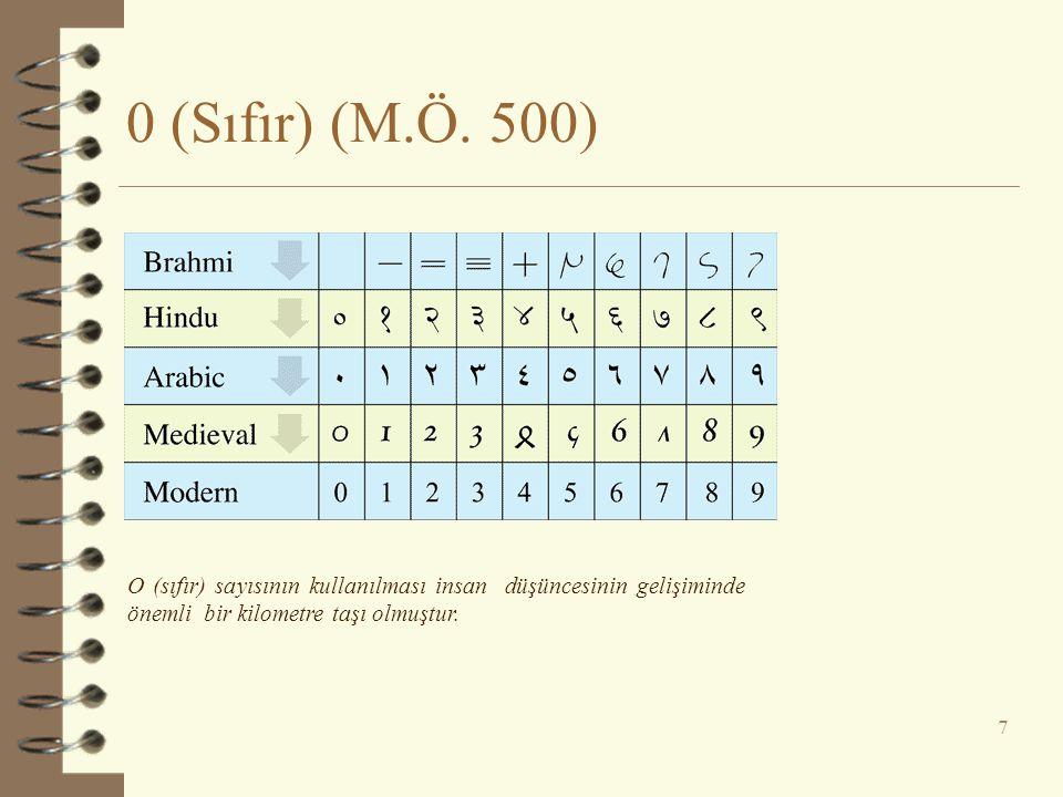 0 (Sıfır) (M.Ö. 500) 7 O (sıfır) sayısının kullanılması insan düşüncesinin gelişiminde önemli bir kilometre taşı olmuştur.