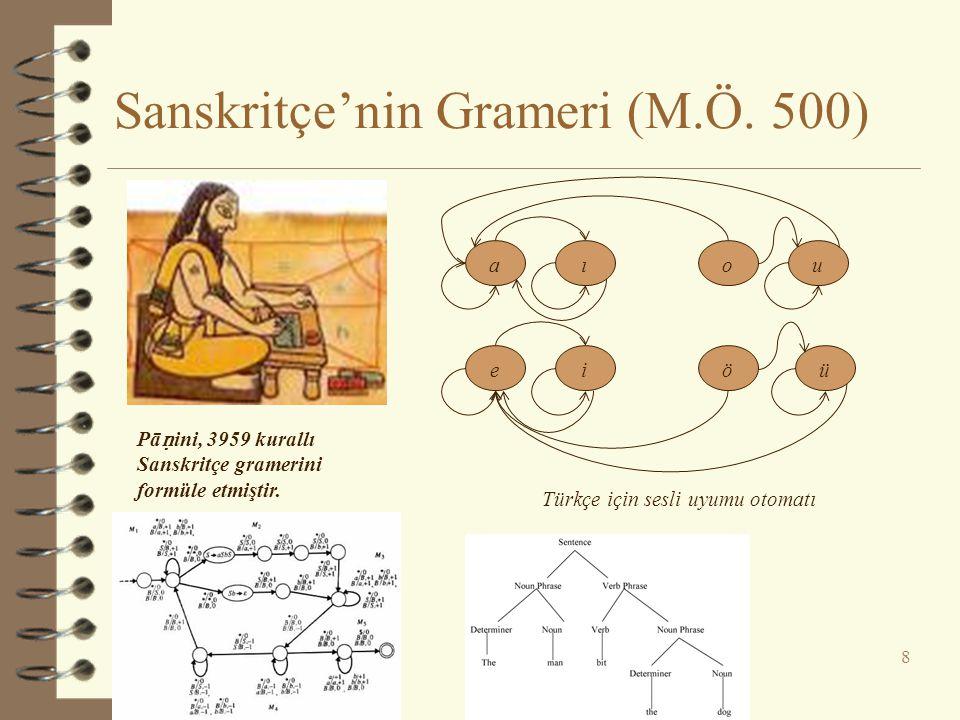 Sanskritçe'nin Grameri (M.Ö. 500) 8 Pā ṇ ini, 3959 kurallı Sanskritçe gramerini formüle etmiştir. aıou eiöü Türkçe için sesli uyumu otomatı