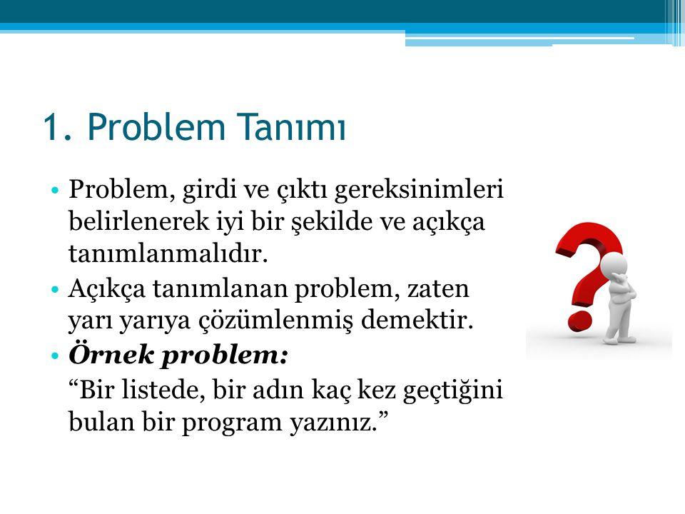1. Problem Tanımı •Problem, girdi ve çıktı gereksinimleri belirlenerek iyi bir şekilde ve açıkça tanımlanmalıdır. •Açıkça tanımlanan problem, zaten ya