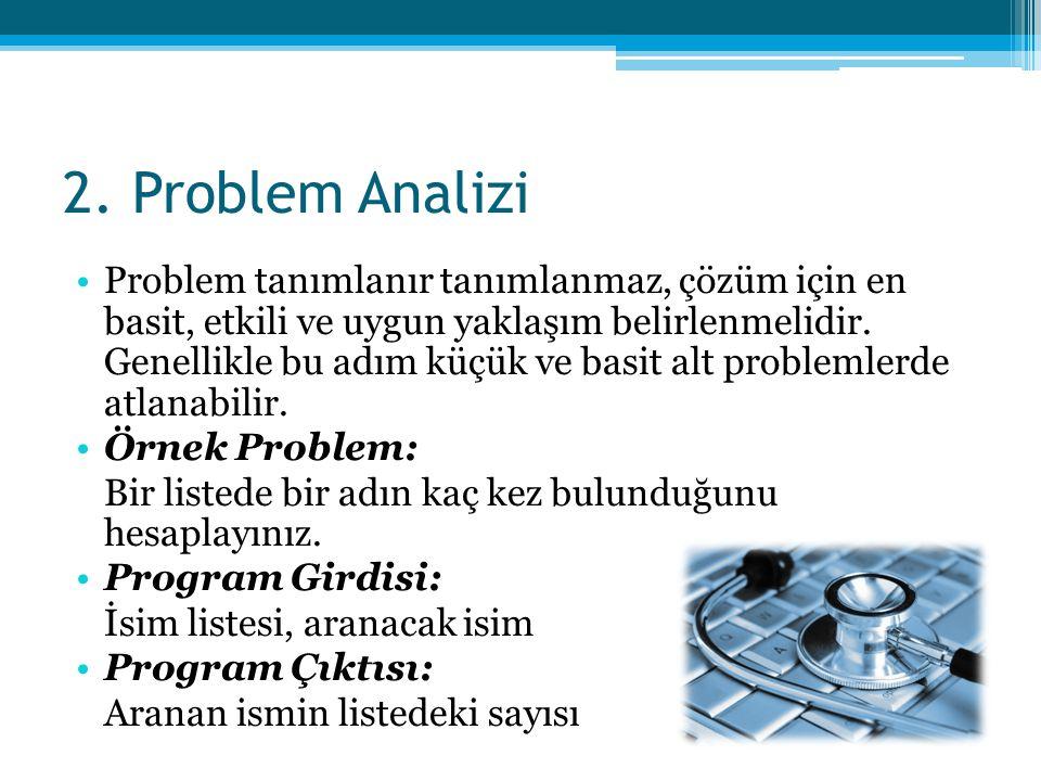 2. Problem Analizi •Problem tanımlanır tanımlanmaz, çözüm için en basit, etkili ve uygun yaklaşım belirlenmelidir. Genellikle bu adım küçük ve basit a