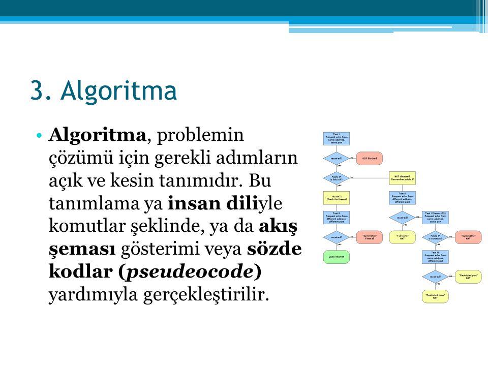 3. Algoritma •Algoritma, problemin çözümü için gerekli adımların açık ve kesin tanımıdır. Bu tanımlama ya insan diliyle komutlar şeklinde, ya da akış