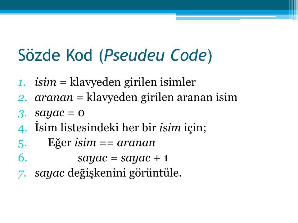 Sözde Kod (Pseudeu Code) 1.isim = klavyeden girilen isimler 2.aranan = klavyeden girilen aranan isim 3.sayac = 0 4.İsim listesindeki her bir isim için