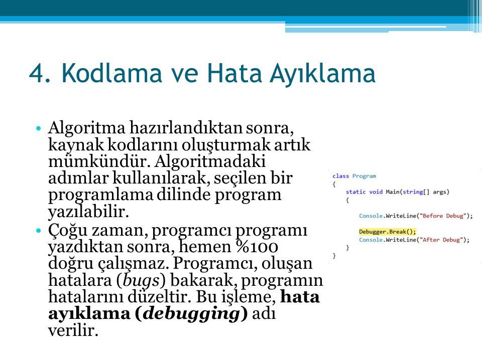 4. Kodlama ve Hata Ayıklama •Algoritma hazırlandıktan sonra, kaynak kodlarını oluşturmak artık mümkündür. Algoritmadaki adımlar kullanılarak, seçilen