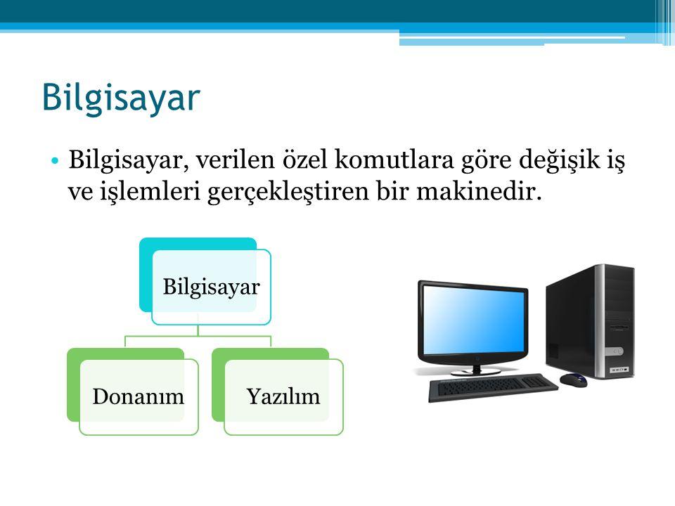 Bilgisayar •Bilgisayar, verilen özel komutlara göre değişik iş ve işlemleri gerçekleştiren bir makinedir. BilgisayarDonanımYazılım