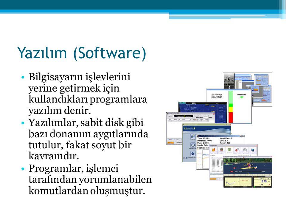 Yazılım (Software) •Bilgisayarın işlevlerini yerine getirmek için kullandıkları programlara yazılım denir. •Yazılımlar, sabit disk gibi bazı donanım a