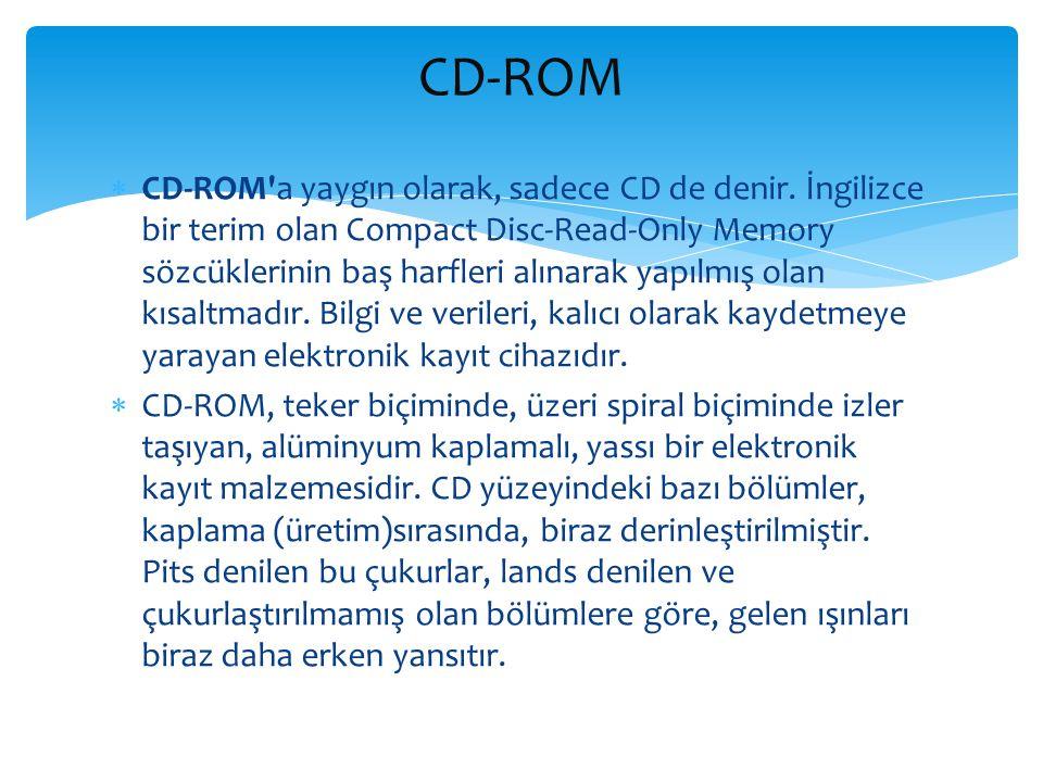  CD-ROM'a yaygın olarak, sadece CD de denir. İngilizce bir terim olan Compact Disc-Read-Only Memory sözcüklerinin baş harfleri alınarak yapılmış olan