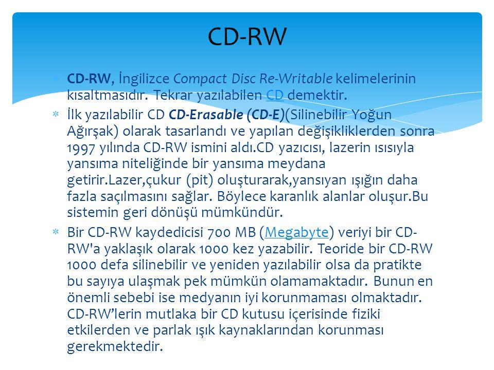  CD-RW, İngilizce Compact Disc Re-Writable kelimelerinin kısaltmasıdır. Tekrar yazılabilen CD demektir.CD  İlk yazılabilir CD CD-Erasable (CD-E)(Sil