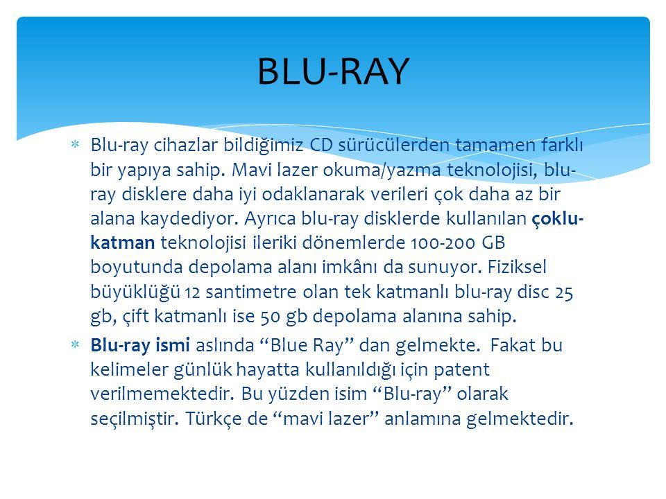 Blu-ray cihazlar bildiğimiz CD sürücülerden tamamen farklı bir yapıya sahip. Mavi lazer okuma/yazma teknolojisi, blu- ray disklere daha iyi odaklana